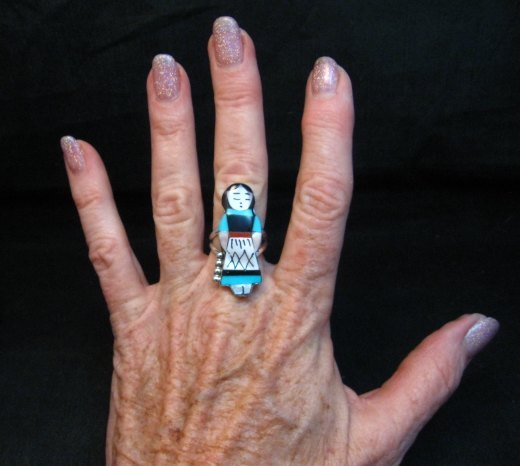 Image 2 of Zuni Indian Maiden Turquoise Inlay Silver Ring sz7-1/2 by Joyce Waseta