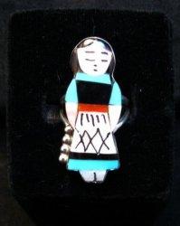 Zuni Indian Maiden Turquoise Inlay Silver Ring sz7-1/2 by Joyce Waseta