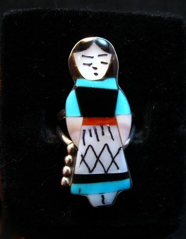 Image 0 of Zuni Indian Maiden Turquoise Inlay Silver Ring sz7-7/8 by Joyce Waseta