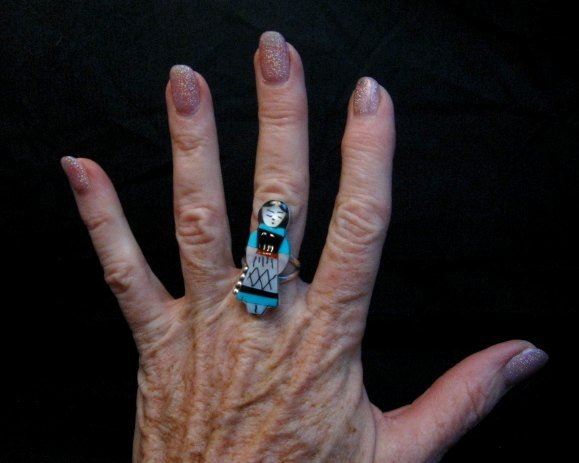 Image 2 of Zuni Indian Maiden Turquoise Inlay Silver Ring sz7-7/8 by Joyce Waseta