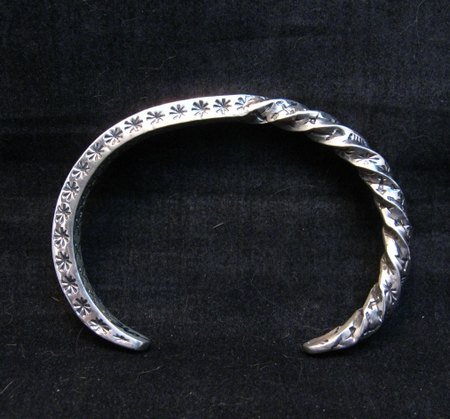 Image 0 of Sunshine Reeves Navajo Stamped Twisted Silver Stacker Cuff Bracelet