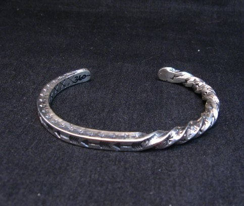 Image 1 of Sunshine Reeves Navajo Stamped Twisted Silver Stacker Cuff Bracelet