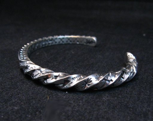 Image 3 of Sunshine Reeves Navajo Stamped Twisted Silver Stacker Cuff Bracelet