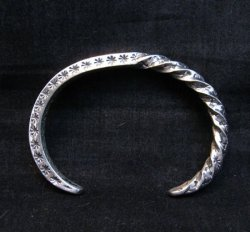 Sunshine Reeves Navajo Stamped Twisted Silver Stacker Cuff Bracelet