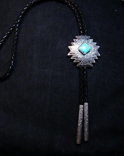 Image 0 of Navajo ~ Everett & Mary Teller ~  Kingman Turquoise Bolo Fancy Silver Tips