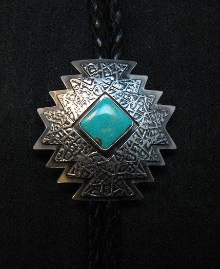Image 2 of Navajo ~ Everett & Mary Teller ~  Kingman Turquoise Bolo Fancy Silver Tips