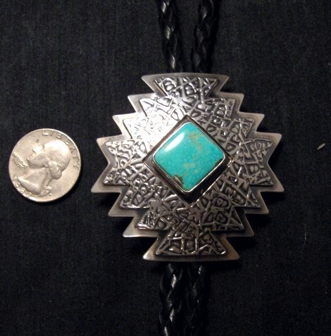 Image 4 of Navajo ~ Everett & Mary Teller ~  Kingman Turquoise Bolo Fancy Silver Tips