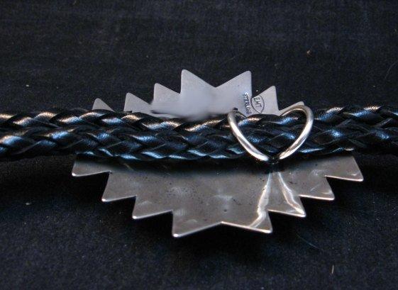 Image 5 of Navajo ~ Everett & Mary Teller ~  Kingman Turquoise Bolo Fancy Silver Tips