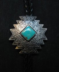 Navajo ~ Everett & Mary Teller ~  Kingman Turquoise Bolo Fancy Silver Tips