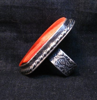 Image 1 of Big Navajo Silver Spiny Oyster Ring Travis Teller sz8