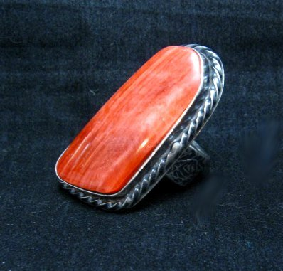 Image 2 of Big Navajo Silver Spiny Oyster Ring Travis Teller sz8
