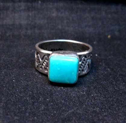Image 0 of Navajo Hand Made Turquoise Stamped Silver Band Ring, Travis Teller sz11