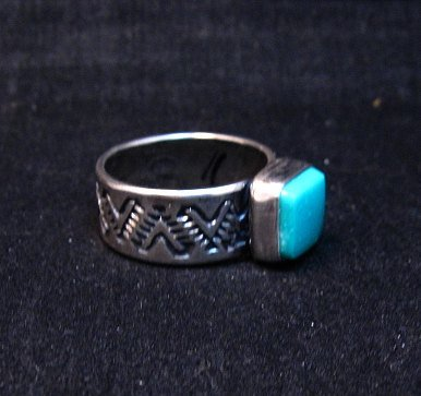 Image 1 of Navajo Hand Made Turquoise Stamped Silver Band Ring, Travis Teller sz11