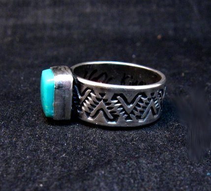 Image 2 of Navajo Hand Made Turquoise Stamped Silver Band Ring, Travis Teller sz11