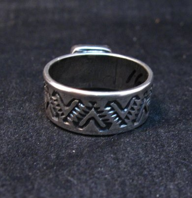 Image 3 of Navajo Hand Made Turquoise Stamped Silver Band Ring, Travis Teller sz11