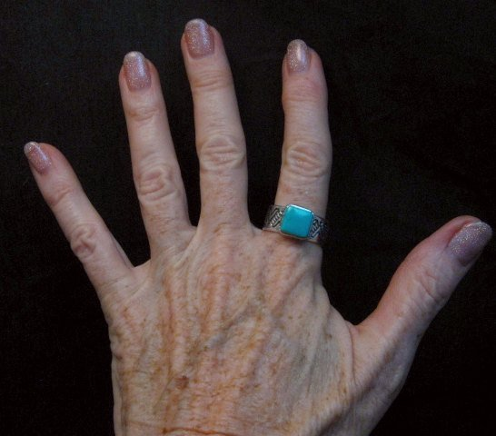 Image 4 of Navajo Hand Made Turquoise Stamped Silver Band Ring, Travis Teller sz11