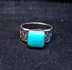Navajo Hand Made Turquoise Stamped Silver Band Ring, Travis Teller sz11