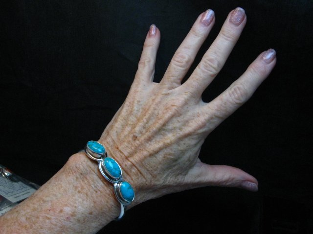 Image 3 of Navajo Turquoise Stacker Cuff Bracelet, Everett Mary Teller