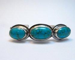 Navajo Turquoise Stacker Cuff Bracelet, Everett Mary Teller