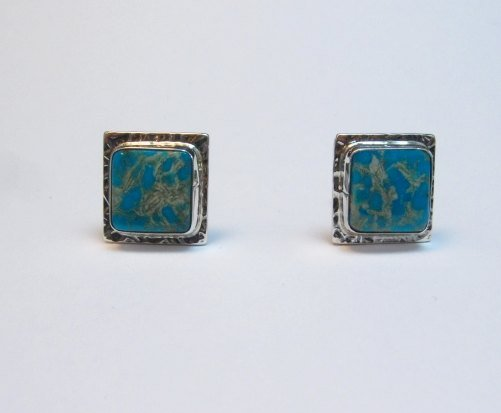 Image 0 of Native American Navajo Everett Mary Teller Turquoise Silver Cuff Links Cufflinks
