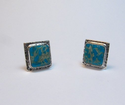 Image 1 of Native American Navajo Everett Mary Teller Turquoise Silver Cuff Links Cufflinks