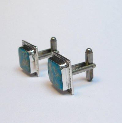Image 3 of Native American Navajo Everett Mary Teller Turquoise Silver Cuff Links Cufflinks