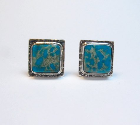 Image 4 of Native American Navajo Everett Mary Teller Turquoise Silver Cuff Links Cufflinks