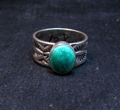 Image 0 of Native American Navajo Turquoise Stamped Silver Band Ring, Travis Teller sz12