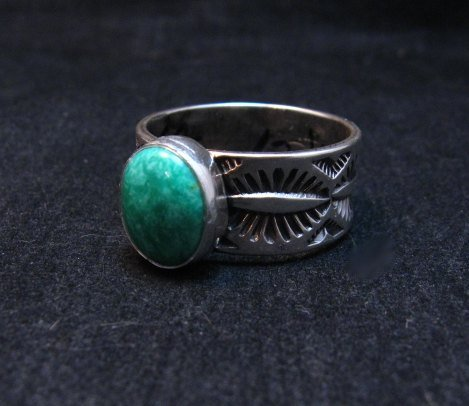 Image 1 of Native American Navajo Turquoise Stamped Silver Band Ring, Travis Teller sz12
