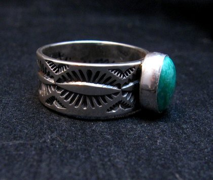 Image 3 of Native American Navajo Turquoise Stamped Silver Band Ring, Travis Teller sz12