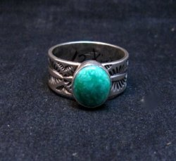 Native American Navajo Turquoise Stamped Silver Band Ring, Travis Teller sz12