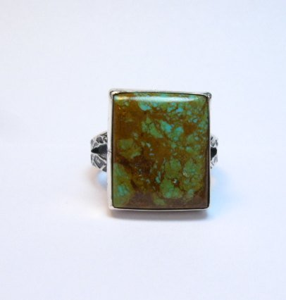 Image 0 of Big Navajo Royston Turquoise Sterling Silver Ring Everett Mary Teller sz12