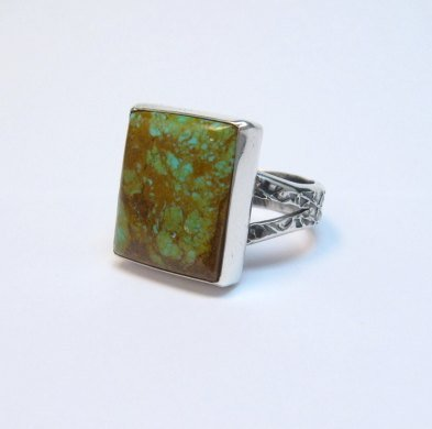 Image 1 of Big Navajo Royston Turquoise Sterling Silver Ring Everett Mary Teller sz12