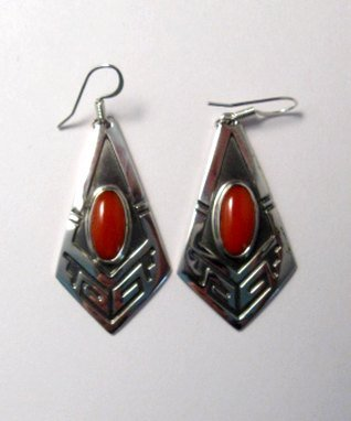 Image 0 of Navajo Handmade Sterling Silver Coral Earrings, Everett Mary Teller