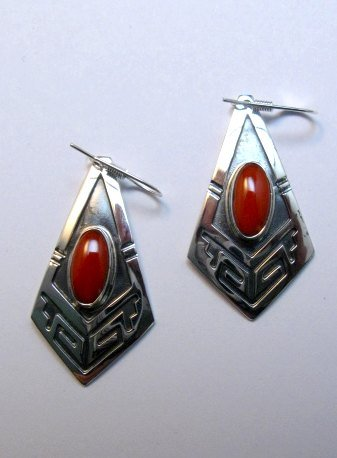 Image 1 of Navajo Handmade Sterling Silver Coral Earrings, Everett Mary Teller