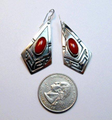 Image 2 of Navajo Handmade Sterling Silver Coral Earrings, Everett Mary Teller