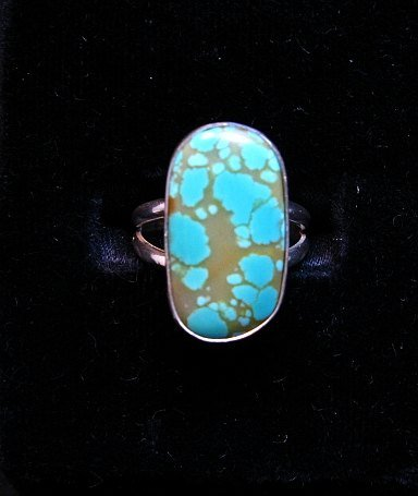 Image 0 of Everett & Mary Teller Navajo Natural Turquoise Sterling Silver Ring sz6