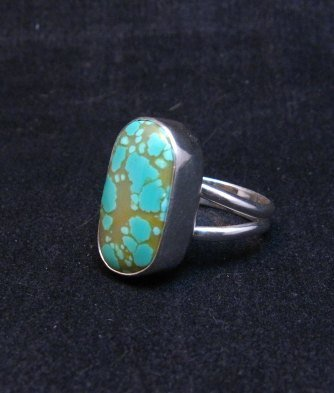 Image 1 of Everett & Mary Teller Navajo Natural Turquoise Sterling Silver Ring sz6