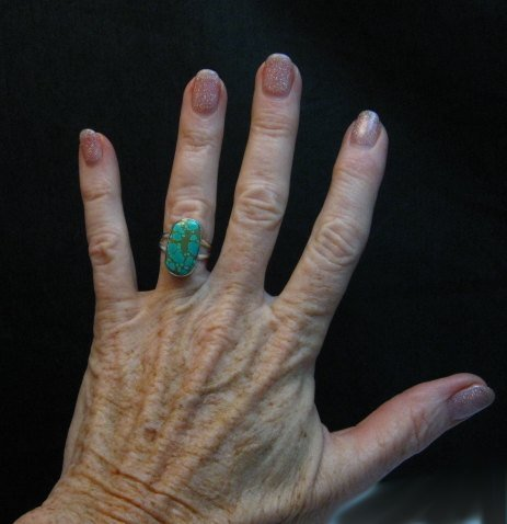 Image 2 of Everett & Mary Teller Navajo Natural Turquoise Sterling Silver Ring sz6