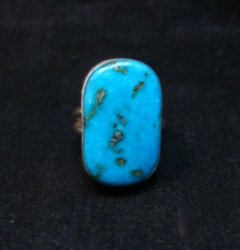 Everett & Mary Teller Navajo Turquoise Sterling Silver Ring sz6-1/2
