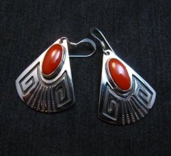 Navajo Handmade Sterling Silver Coral Earrings, Everett and Mary Teller