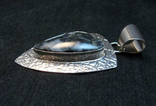 Image 3 of Navajo Zebra Jasper Hammered Silver Shield Pendant, Everett and Mary Teller