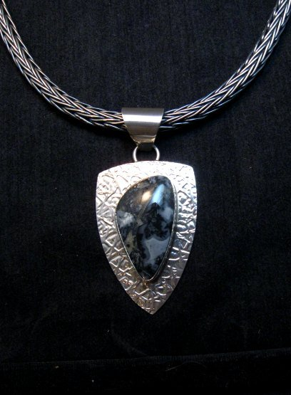 Image 1 of Navajo Zebra Jasper Hammered Silver Shield Pendant, Everett and Mary Teller