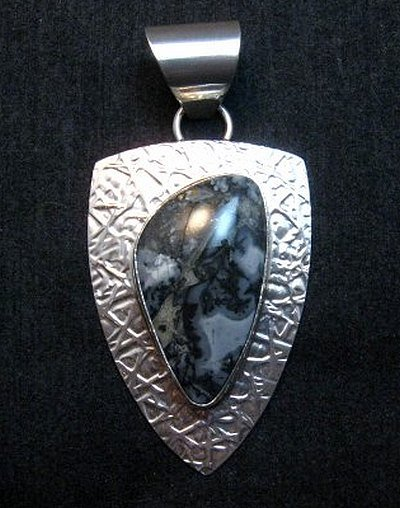 Image 0 of Navajo Zebra Jasper Hammered Silver Shield Pendant, Everett and Mary Teller