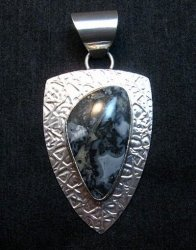 Navajo Zebra Jasper Hammered Silver Shield Pendant, Everett and Mary Teller