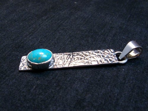 Image 1 of Native American Turquoise Silver Stick Pendant by Navajo Travis Teller