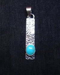 Native American Turquoise Silver Stick Pendant by Navajo Travis Teller