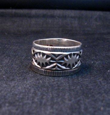 Image 0 of Navajo Sash Belt Design Silver Band Ring, Travis Teller sz10