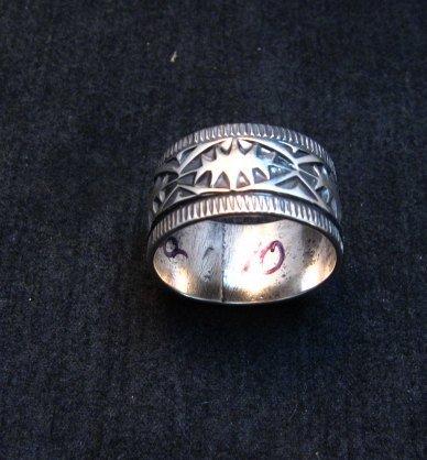 Image 1 of Navajo Sash Belt Design Silver Band Ring, Travis Teller sz10