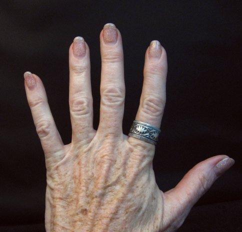 Image 2 of Navajo Sash Belt Design Silver Band Ring, Travis Teller sz10